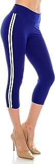 ALWAYS Leggings Women Striped Capri - Basic Premium Soft Stretch Buttery Yoga Workout