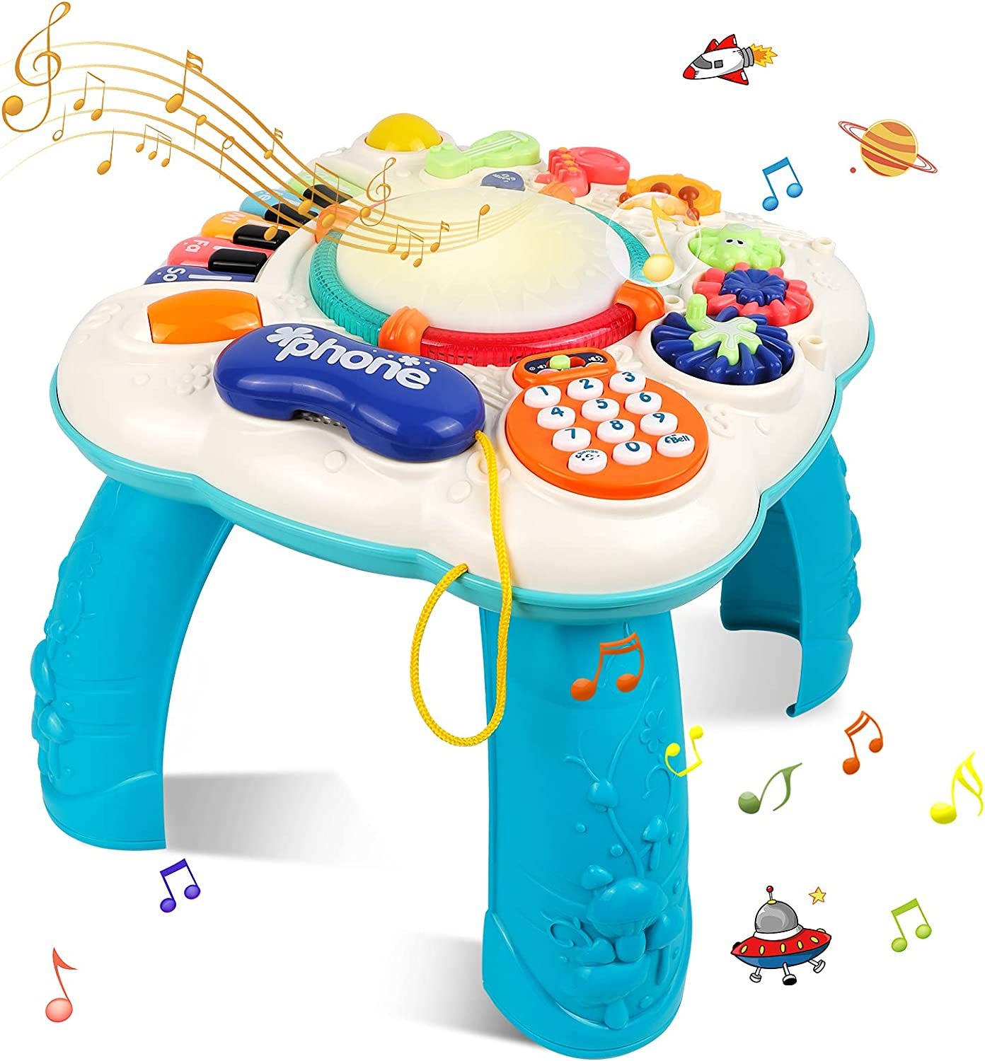 STOTOY Baby Toys Musical Learning Table for Boys & Girls, Early Education Activity Center Table for Toddles with Lights and Melodies, Toys Gifts for 3 4 5 6 7 Years Old Kids