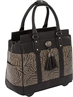 "JKM and Company The Dallas Black & Grey Tooled Rolling iPad Tablet or Laptop Tote Carryall Bag (15.6, 17""/17.3"" inch)"