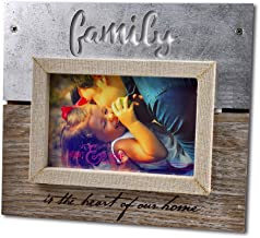Spiretro 4 x 6 inch Sentiments Memorial Family Picture Frame with Plexiglass, Engraved & Linen Wrapped Wood Frame, Tabletop Display by Easel, Wall Hang Decor, Metallic Silver & Rustic Grey Photo Frame