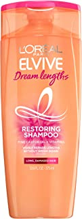 L'Oreal Paris Elvive Dream Lengths Restoring Shampoo with Fine Castor Oil and Vitamins B3 and B5 for Long, Damaged Hair, Visibly Repairs Damage Without Weighdown with System, 12.6 fl. oz.