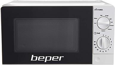 Beper-Horno microondas 20 litros con grill, temporizador regulable, placa de cristal de 24,5 cm, grill de acero y patas antideslizantes