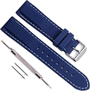 Quick Release Silicone Replacement Watch Band Soft Rubber Watch Straps with Stainless Metal Clasp Choice of Color & Width