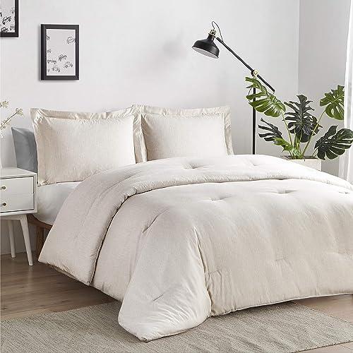 Bedsure California King Comforter Sets, Bed Comforter Cal King Set, Beige Cationic Dyeing Oversized King Comforter wi...