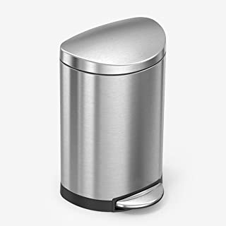 Best simplehuman 10 Liter / 2.3 Gallon Stainless Steel Small Semi-Round Bathroom Step Trash Can, Brushed Stainless Steel Reviews