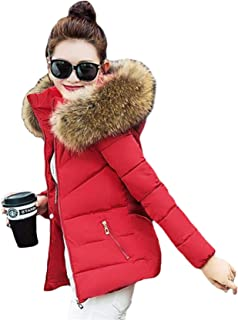Dooxi Womens Ladies Faux Fur Collared Hooded Winter Warm Short Slim Coat Quilted Padded Parka Jacket