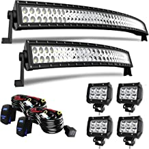 T-Former DOT Approved 52 Inch Curved LED Light Bar + 32Inch Curved Light Bar Combo Offroad Lights + 4PCS 4