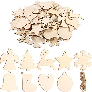 Tatuo 90 Pieces Unfinished Ornaments Christmas Wooden Ornaments Hanging Embellishments Crafts for DIY, Christmas Hanging Decoration (White Multi-Shapes)
