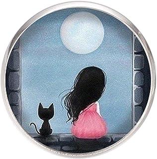 Spilla con perno in acciaio inossidabile, diametro 25 mm, spillo 0,7 mm, Fatto a Mano, Illustrazione Ragazza e gatto sotto...