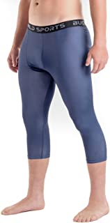 Bucwild Sports 3/4 Basketball Compression Pants Tights for Youth Boys & Men by