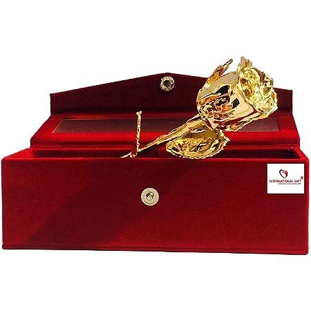 International Gift Artificial Rose with Velvet Box (Golden)