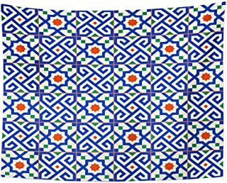 SPXUBZ Wall Tapestry Geometric White Turkish Moroccan Portuguese Tiles Azulejo Arabic Pattern Fills Wall Hanging Decoration Soft Fabric Tapestry Perfect Print for House Rooms