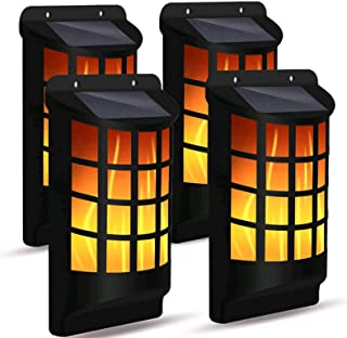 Solar Flame Lights Outdoor, Waterproof Flickering Flame Wall Lights with Dark Sensor Auto On/Off 66 LED Solar Powered Nigh...