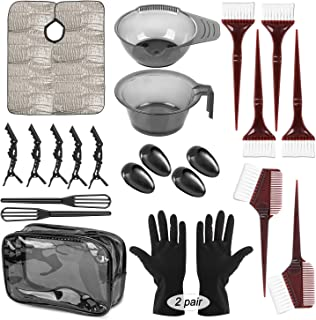 26 Pieces Hair Dye Kit, Hair Tinting Bowl, Dye Brush, Ear Cover, Clips Gloves, Waterproof Cosmetic Bag DIY Salon and Home ...