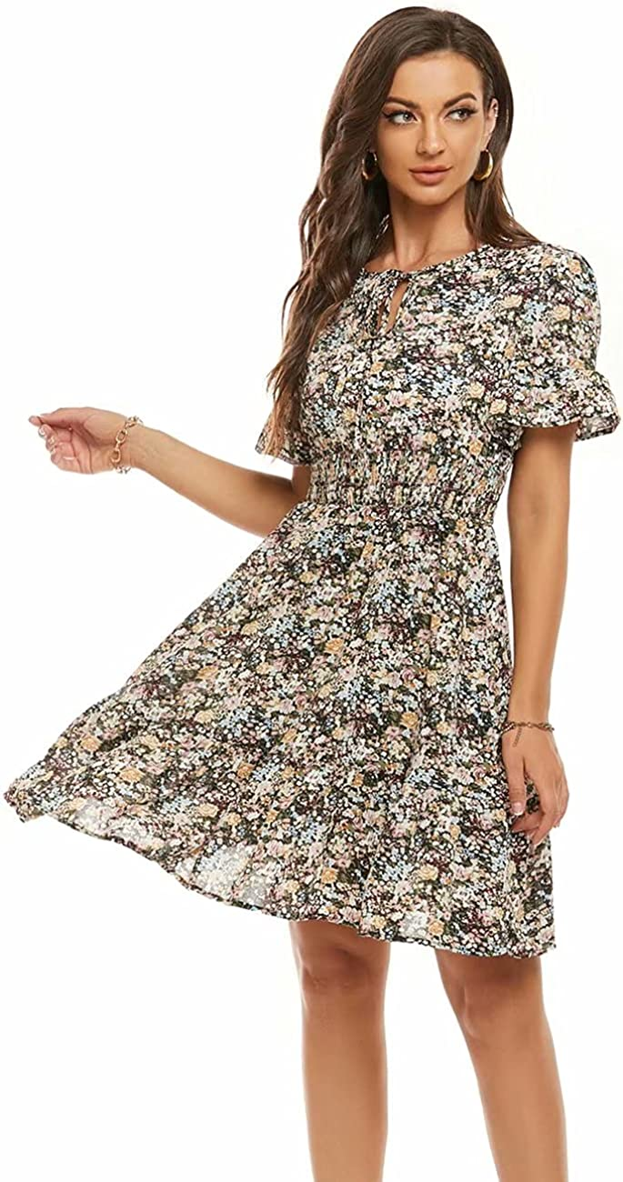 LIVECLOTH Women's Floral Tie Neck Elastic High Waist Ruffle Dress