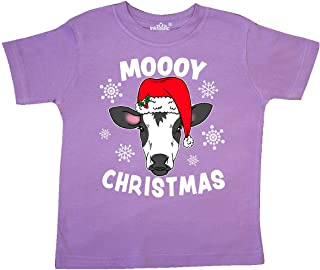 inktastic Moooy Christmas with Cute Holstein Cow and Snowflakes Toddler T-Shirt