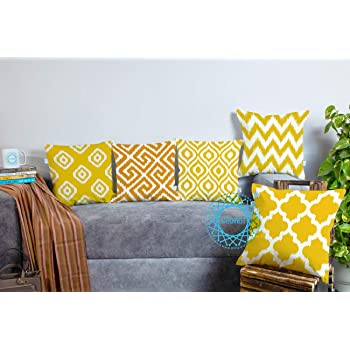 STITCHNEST Yellow Geometrical Ikat Ethnic Printed Canvas Cotton Cushion Covers, Yellow Set of 5 (16 x 16 Inches)