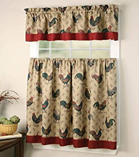 Sapphire Home 3 Piece Kitchen Curtain Linen Set with 2 Tiers 27