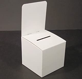 Set of 10, Large Suggestion Box with Removable Header, Cardboard Ballot Box for Tabletop Use, White