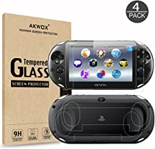(4-Pack) Screen Protectors for Sony Playstation Vita 1000 with Back Covers, Akwox 9H Tempered Glass Front Screen Protector and HD Clear Crystal PET Back Screen Protective Film for PS Vita PSV 1000