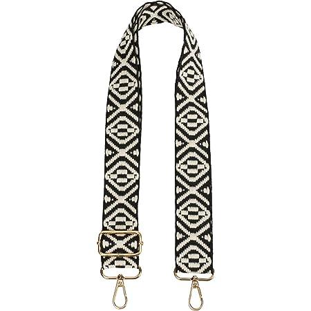 styleBREAKER Taschen Schulterriemen mit Azteken Muster, Wechsel Taschengurt mit Karabinerhaken, verstellbar, Unisex 02013015, Farbe:Schwarz-Weiß