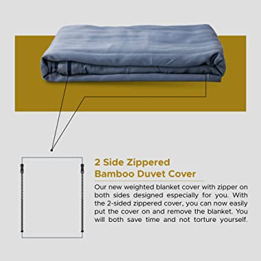 WONAP Bamboo Duvet Cover for Weighted Blankets   60''x80'', Queen Size   12 Ties   Ultra Soft   Cooling   Fol