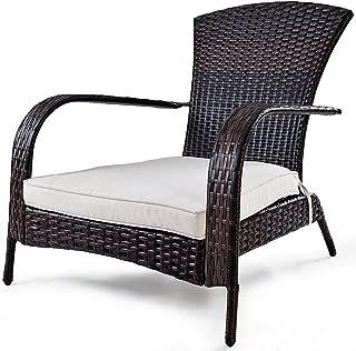 Lucky-gift - Outdoor Wicker Rattan Porch Deck Adirondack Chair w/Cushion - Wicker Rattan Porch Deck Adirondack Chair - ushion Outdoor W Patio Seat Furniture Mix Brown Home Soft Us Garden Sturdy Weath