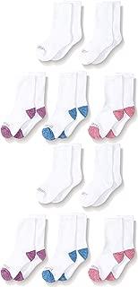 Fruit of the Loom Girls' 10-Pair Everyday Soft Crew Socks