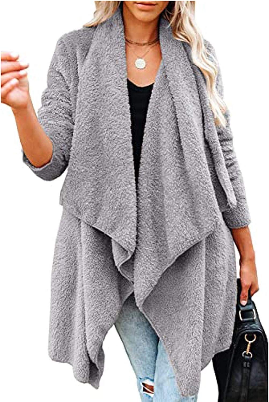 WUAI-Women Casual Long Sleeve Irregular Hem Drape Cardigan Sweater Lightweight Long Kimono Cardigans Jackets