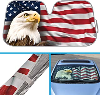 BDK USA Eagle Flag Auto Sun Shade for Car SUV Truck - Stars & Stripes - Bubble Foil Jumbo Folding Accordion for Windshield (AS-764)
