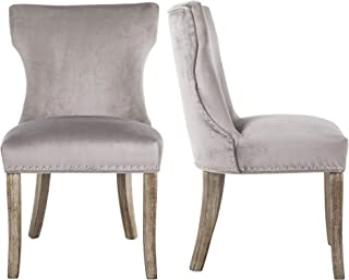 DAGONHIL Dining Chair Button Tufted Armless Chair Upholstered Accent Chair with Brown Solid Wooden Legs,Nailed Trim,Set of 2(Gray)