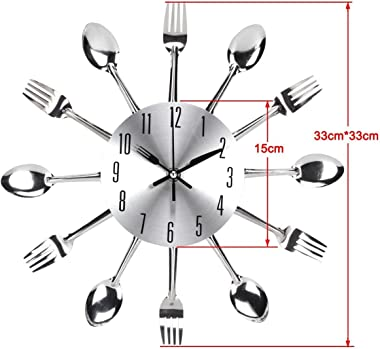 Timelike Kitchen Wall Clock, 3D Removable Modern Creative Cutlery Kitchen Spoon Fork Wall Clock Mirror Wall Decal Wall Sticke