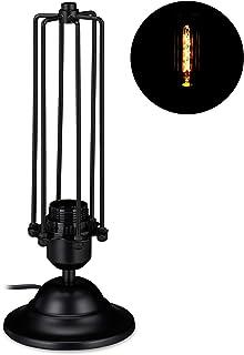 Relaxdays Lámpara de mesa Thomas, Para la mesilla de noche, Metálica, Industrial, E27, 33 x 13 cm, Negro, 1 Ud
