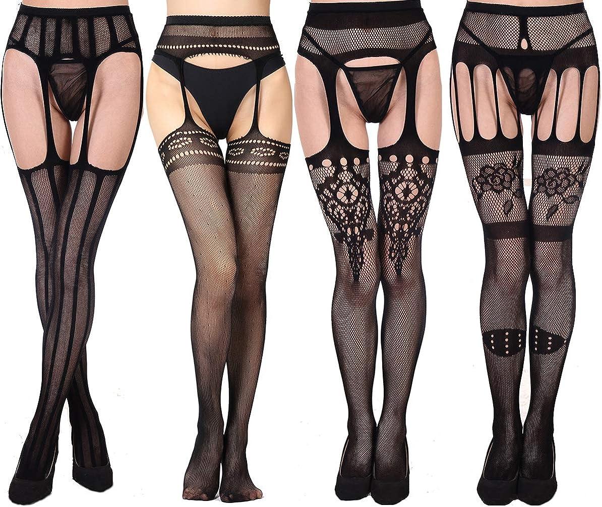 Womens Fishnet Tights 4 PK Black Lace Suspender Pantyhose Stocking