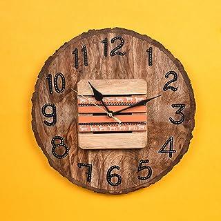 AAKRITI ART CREATIONS Wood Hand Painted Wall Clock (Brown_11 Inch X 1.5 Inch X 11 Inch)