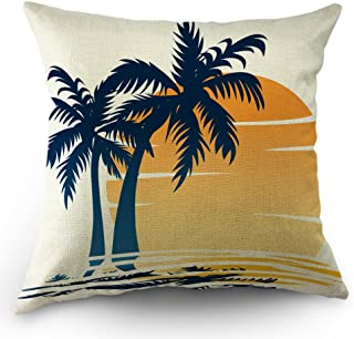 Moslion Coastal Throw Pillow Cover Palm Tree Waves in The Beach at Sunset Cotton Linen Decorative Pillow Case 18 x 18 Inch Standard Square Cushion Cover for Sofa Bedroom Men Women Blue Orange