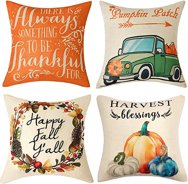 Anickal Set Of 4 Fall Pillow Covers Harvest Blessings Pumpkin Patch Autumn Theme Farmhouse Decorative Throw Pillow Covers 18x18 Inch For Sofa Couch Decor