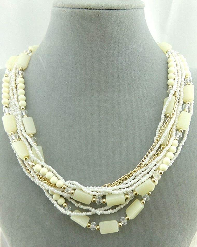 Layered Gold Chain and Cream Bead Necklace For Women Fashion Jewelry NEW