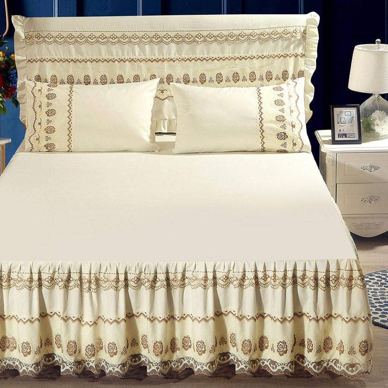 に付けるスリチンモイまでQXJR ベッドカバー,ベッドスカート,レース製,花柄,プリンセス ストレッチ ベッドスカート いベッドスカート シングル ラップアラウンドスタイル 寝具 ベッド用品-N-1.5*2.0Mベッドスカート