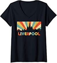 Womens Liverpool City England Vintage Disco Skyline Souvenir Design V-Neck T-Shirt