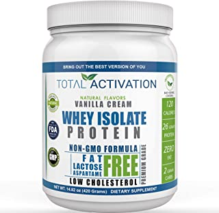 Lactose Free Protein Powder for Women & Men Whey Isolate Low Carb Low Calorie with Stevia Monk Fruit Sunflower Lecithin Co...