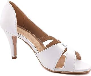 Angkorly - Chaussure Mode Escarpin Sandale Sobre Vintage/rétro Glamour Femme Lanières croisées Cuir Lisse Classique Talon ...
