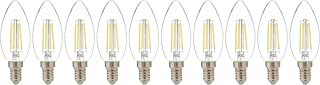 Narken 10 Pieces/Pack C35 4W E14 Small Edison Screw Daylight(Cool white) 6500K LED Power Saving Classic Clear Filament Can...