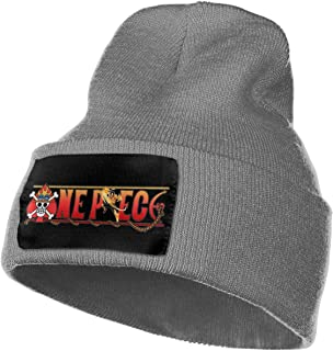 Mens & Womens Anime One Piece Ace Skull Beanie Hats Winter Knitted Caps Soft Warm Ski Hat Black