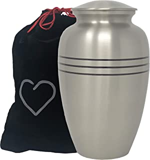 Momentful Life Metal Adult Cremation Urn - Classic Pewter Cremation Urn - Hand Engraved Accents - Silver