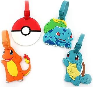 Finex Set of 4 - Pikachu Poke Ball Charmander Bulbasaur Squirtle Travel Luggage Tags Bag Tag Adjustable Strap (Poke mon)