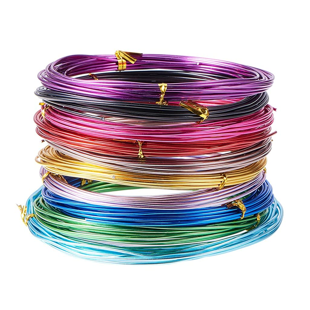 PandaHall 10 Rolls Aluminum Craft Wire 15 Guage Flexible Artistic Floral Colored Jewely Beading Wire for DIY Jewelry Craft Making Each Roll 16 Feet, Random Color