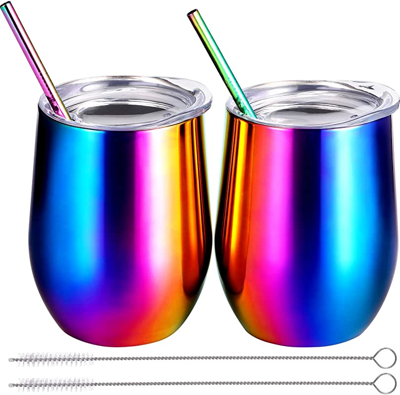 BBTO 2 Sets 12 Oz Stainless Steel Stemless Wine Glass Unbreakable Double Wall Insulate Cup Tumbler With Lids For Wine Coffee Including 2 Pieces Straws And 2 Pieces Brushes Colored Rainbow