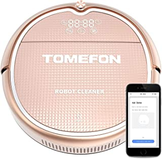TOMEFON Robotic Vacuum Cleaner, Strong Suction 1500Pa Super Quiet, Self-Charging Household Vacuum Cleaner Sweeping Mopping with Mobile APP Connectivity, Good for Pet Hair, Carpets, Hard Floors TCN805