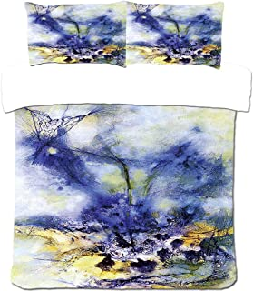 3Pcs Bedding Set 3D Printing Blue Abstract Oil Painting Polyester Duvet Cover And Pillowcases Breathable Easy Care Twin 20...